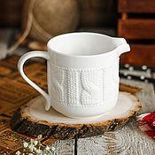 Материалы для творчества ручной работы. Ярмарка Мастеров - ручная работа Керамический молочник «Knitted» 200 мл. Handmade.