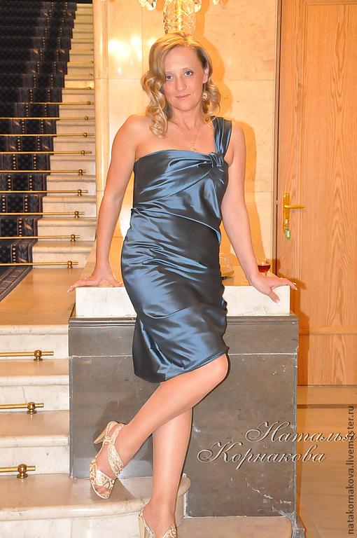 Платья ручной работы. Ярмарка Мастеров - ручная работа. Купить Коктейльное платье. Handmade. Тёмно-синий, тафта, драпировка