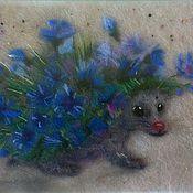 Картины и панно handmade. Livemaster - original item Flower hedgehog. Cornflowers. Handmade.