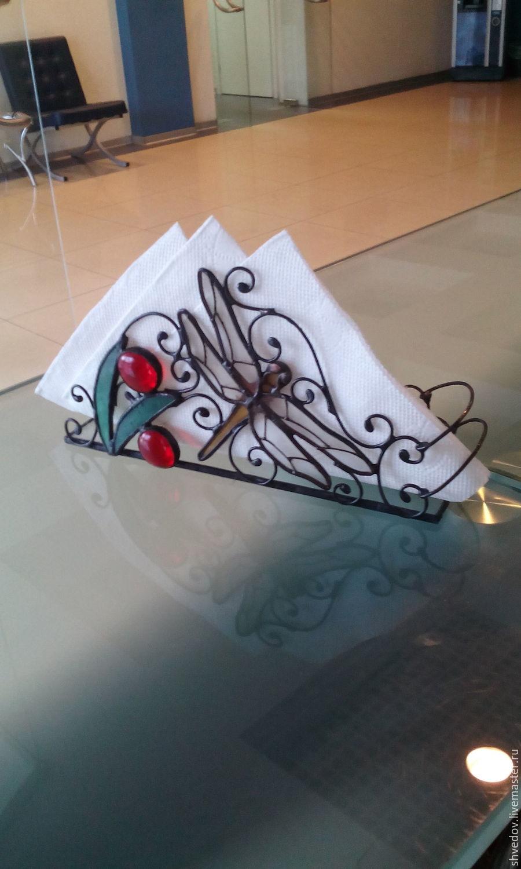 Животные ручной работы. Ярмарка Мастеров - ручная работа. Купить салфетница витражная  стрекоза. Handmade. Витраж Тиффани, комбинированный, олово