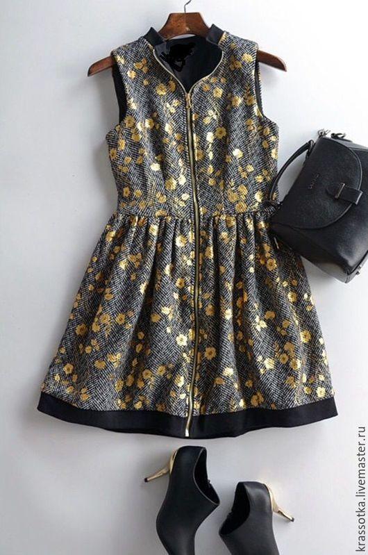 Платья ручной работы. Ярмарка Мастеров - ручная работа. Купить Серое платье с золотом. Handmade. Серый, шерсть, школьное платье