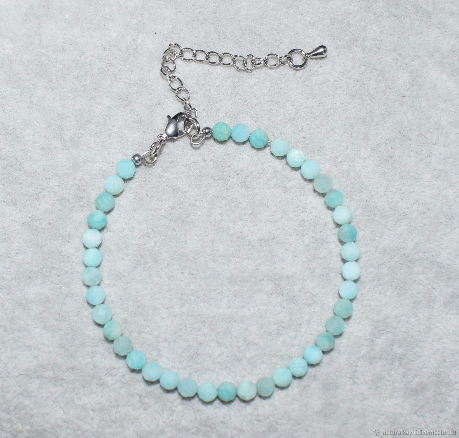 Delicate bracelet with natural amazonite cut, Bead bracelet, Moscow,  Фото №1