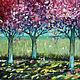 Пейзаж ручной работы. Ярмарка Мастеров - ручная работа. Купить Цветущая аллея. Handmade. Фуксия, картина в подарок, картина для интерьера