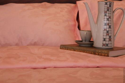 Текстиль, ковры ручной работы. Ярмарка Мастеров - ручная работа. Купить Постельное белье из розового жаккард премиум класса. Handmade.