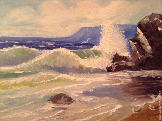 Пейзаж ручной работы. Ярмарка Мастеров - ручная работа. Купить Морской прибой. Handmade. Голубой, чайки, интерьерная картина, мастихин