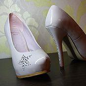 Обувь ручной работы. Ярмарка Мастеров - ручная работа Туфли кофейно-лилового цвета Swarovski. Handmade.