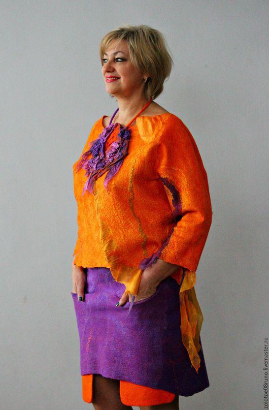 """Костюмы ручной работы. Ярмарка Мастеров - ручная работа. Купить Комплект блуза и юбка """"Orange summer"""".. Handmade. Оранжевый"""
