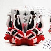 Сувениры и подарки ручной работы. Ярмарка Мастеров - ручная работа Резная свеча Интрига черный и красный  Резные свечи ручной работы. Handmade.