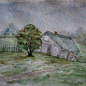 Пейзаж  рисунок акварелью Северное лето