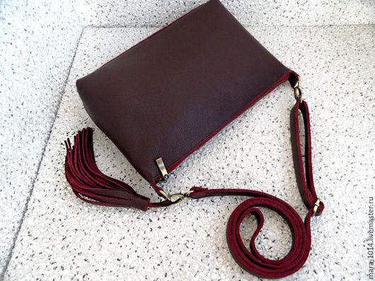 Женские сумки ручной работы. Ярмарка Мастеров - ручная работа. Купить MARSALA сумка на длинном ремешке из кожи, красно-коричневый цвет. Handmade.