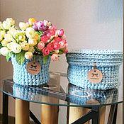 handmade. Livemaster - original item Store things: Set of baskets made of knitted yarn transformer. Handmade.