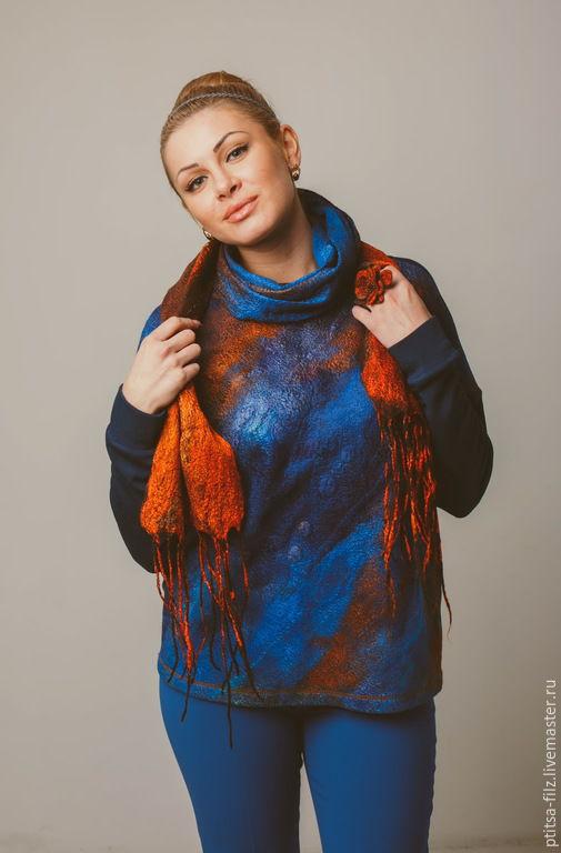 """Кофты и свитера ручной работы. Ярмарка Мастеров - ручная работа. Купить Джемпер и шарф """"Восход на море"""". Handmade. Синий"""