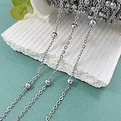 Материалы для творчества handmade. Livemaster - original item 50 cm steel Chain 2.5x1.9x0.3 mm (width) ball 4 mm (3918). Handmade.