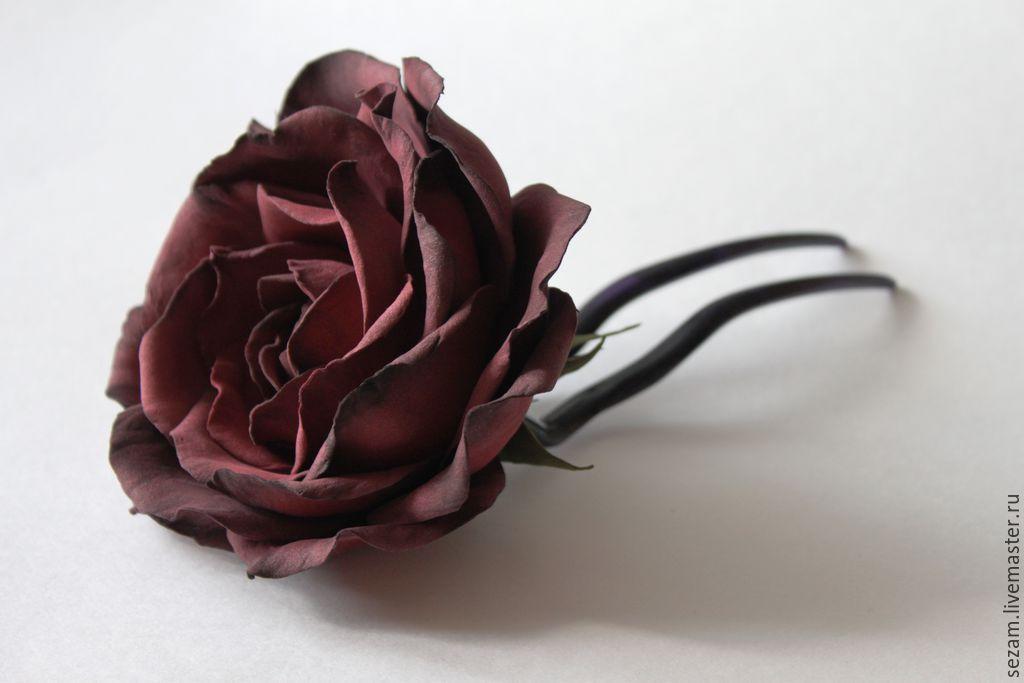 Винная роза. Фоамиран, Заколки, Москва,  Фото №1