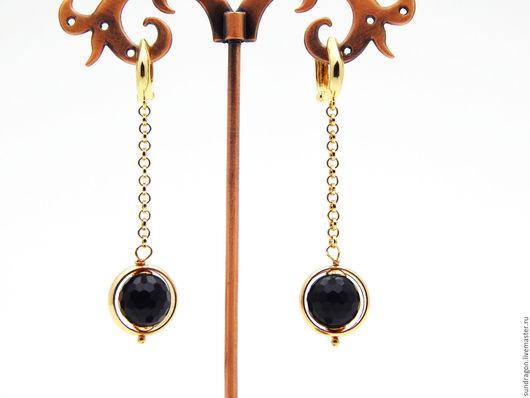 Серьги ручной работы. Ярмарка Мастеров - ручная работа. Купить серьги позолоченные с ониксом (черным агатом). Handmade. Серьги