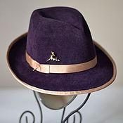 Аксессуары ручной работы. Ярмарка Мастеров - ручная работа Шляпа велюр в мужском стиле, федора фиолетовая. Handmade.