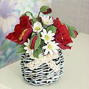 Цветы и флористика ручной работы. Ярмарка Мастеров - ручная работа Маки в корзинке. Handmade.