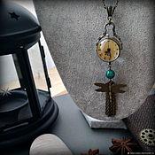 Часы-медальон ручной работы. Ярмарка Мастеров - ручная работа Часы линза сфера винтажный стиль Стрекоза. Handmade.