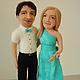 Портретные куклы ручной работы. Ярмарка Мастеров - ручная работа. Купить Портретные куклы Пара в бирюзовом. Handmade. Мятный, Молодоженам