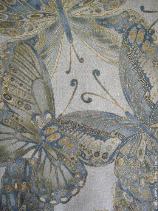"""Шитье ручной работы. Ярмарка Мастеров - ручная работа. Купить Американский хлопок """"Бабочки"""". Handmade. Голубой, ткань для рукоделия"""