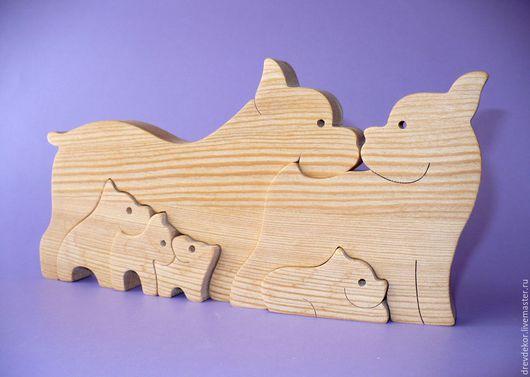 Игрушки животные, ручной работы. Ярмарка Мастеров - ручная работа. Купить Пазлы собачки № 1. Handmade. Коричневый