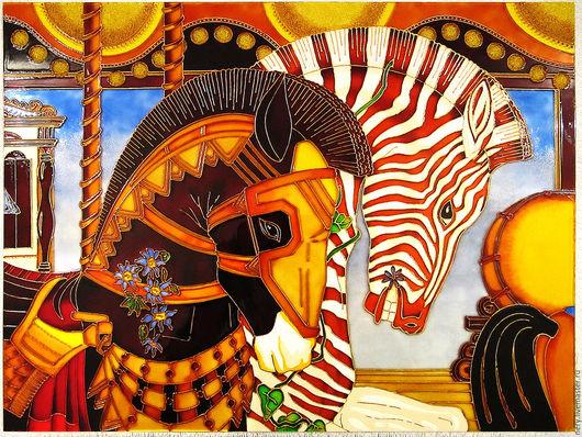 """Репродукции ручной работы. Ярмарка Мастеров - ручная работа. Купить Витражное панно """"Карусель"""". Handmade. Комбинированный, карусель, стекло"""