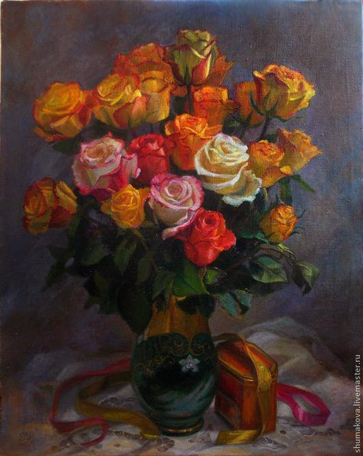 Натюрморт ручной работы. Ярмарка Мастеров - ручная работа. Купить Букет роз. Handmade. Натюрморт, белые, розовые, букет