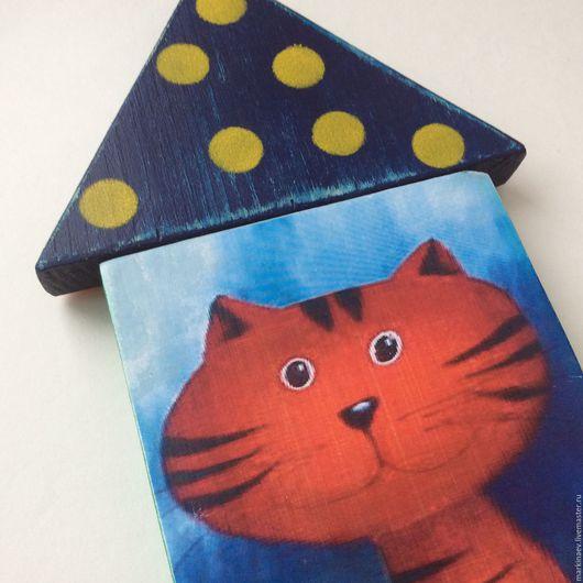 """Животные ручной работы. Ярмарка Мастеров - ручная работа. Купить Панно """"Котик красный"""" детское. Handmade. Панно с котиком"""