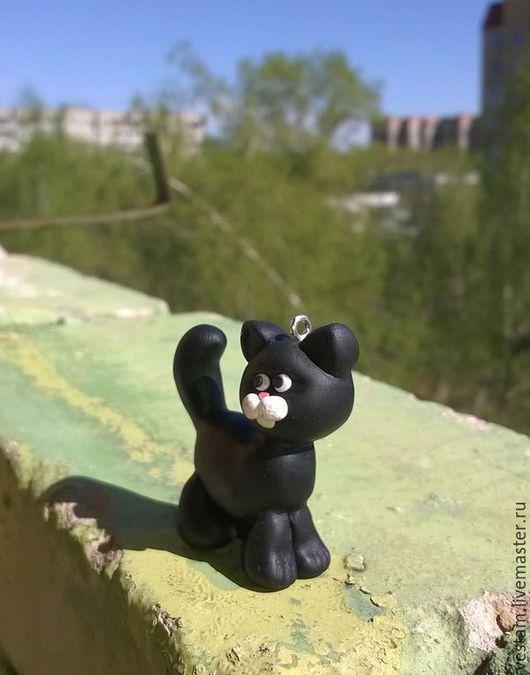 Брелоки ручной работы. Ярмарка Мастеров - ручная работа. Купить Брелок Черный кот из полимерной глины. Handmade. Черный, котенок