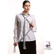 Одежда ручной работы. Ярмарка Мастеров - ручная работа Шарф-пояс-лариат-украшение вязаный, потрясающе красивый Серебро. Handmade.
