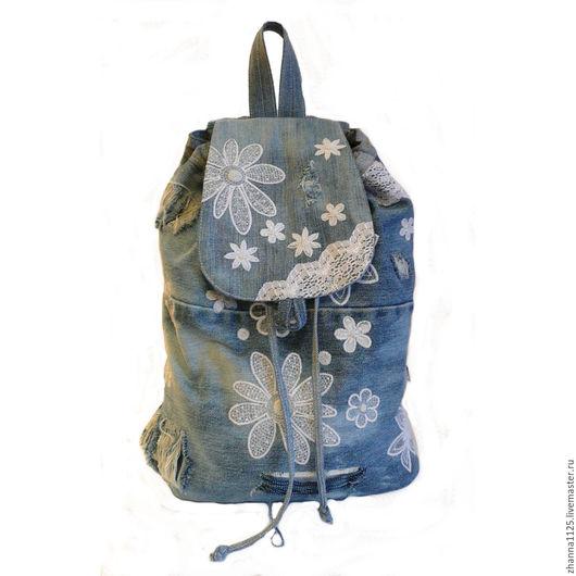 Джинсовый рюкзак `Шебби-шик-2` с вышивкой. Автор ZhannaPetrakova Atelier Moscow.Рюкзаки ручной работы. Купить рюкзак с вышивкой.Женский рюкзак, handmade.