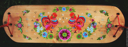 Экстерьер и дача ручной работы. Ярмарка Мастеров - ручная работа. Купить качели деревянные. Handmade. Разноцветный, акрил, металл