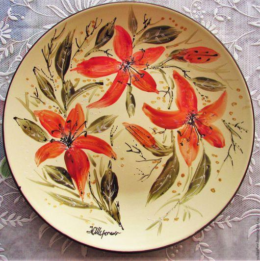 Декоративная посуда ручной работы. Ярмарка Мастеров - ручная работа. Купить Тарелка. Handmade. Желтый, ручная авторская работа, терелка