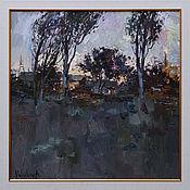 Картины и панно handmade. Livemaster - original item Evening - Original rural landscape painting, Framed. Handmade.