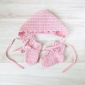 Работы для детей, handmade. Livemaster - original item knitted set for girls hat and socks knitted pink. Handmade.