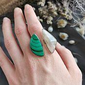 Украшения handmade. Livemaster - original item Double ring malachite and moonstone. Handmade.