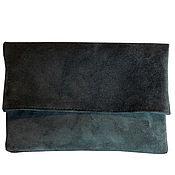 Сумки и аксессуары handmade. Livemaster - original item Clutch bag of suede ( dark green M). Handmade.