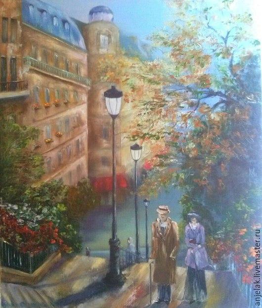"""Город ручной работы. Ярмарка Мастеров - ручная работа. Купить """"Прогулка на Монмантре"""". Handmade. Голубой, Монмартр, парочка, романтика, белый"""