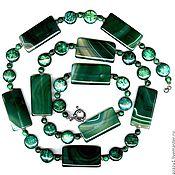 Украшения handmade. Livemaster - original item Very long bead necklace green natural stone malachite, chrysoprase, amazo. Handmade.