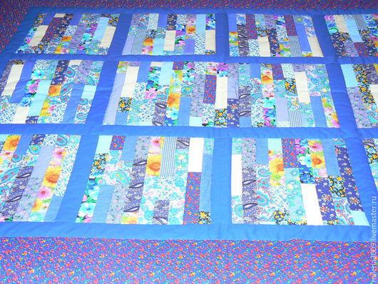 Текстиль, ковры ручной работы. Ярмарка Мастеров - ручная работа. Купить Лоскутное одеяло. Handmade. Синий, хлопок 100%