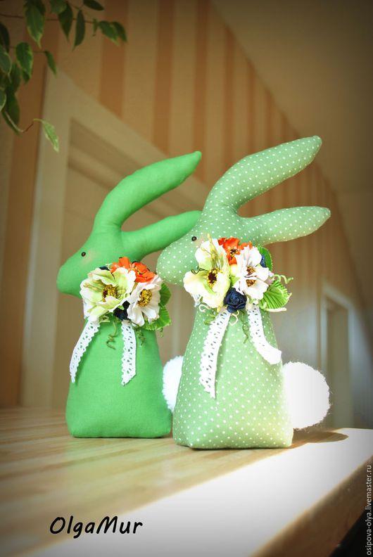 """Подарки на Пасху ручной работы. Ярмарка Мастеров - ручная работа. Купить Зайки пасхальные """"Зеленые"""". Handmade. Зеленый, пасхальный подарок"""