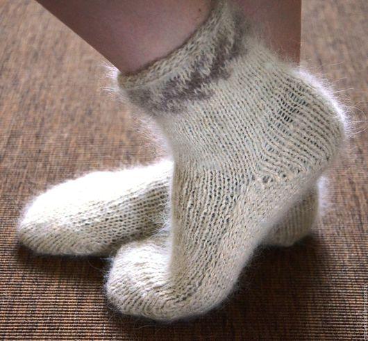 Носки, Чулки ручной работы. Ярмарка Мастеров - ручная работа. Купить Носки собачья шерсть+лен с утолщенной подошвой. Handmade. Белый
