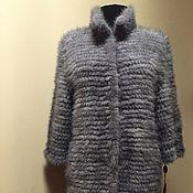 Одежда ручной работы. Ярмарка Мастеров - ручная работа Пальто из вязаной норки «Elena Blue». Handmade.
