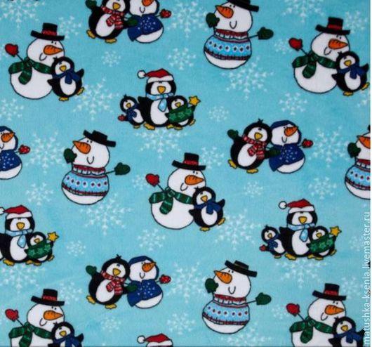 Шитье ручной работы. Ярмарка Мастеров - ручная работа. Купить Новогодняя ткань Пингвины для тильды, пэчворка. Handmade. Ткани для печворка