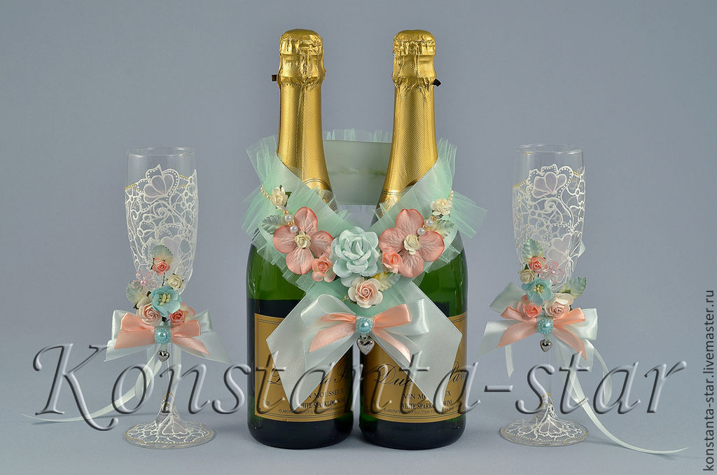 Украшение на бокалы и шампанское на свадьбу своими руками