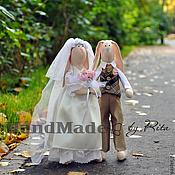 Куклы и игрушки ручной работы. Ярмарка Мастеров - ручная работа Свадебные зайки. Handmade.