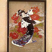 """Картины и панно ручной работы. Ярмарка Мастеров - ручная работа Картина на стекле """"Гейша"""". Handmade."""