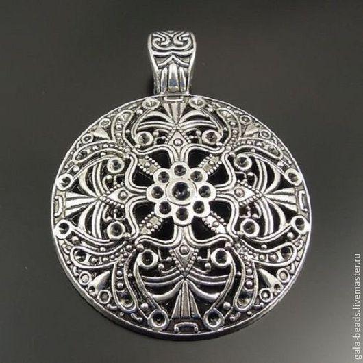 Для украшений ручной работы. Ярмарка Мастеров - ручная работа. Купить Подвеска кулон металлическая античное серебро 005. Handmade.