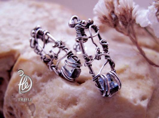 """Серьги ручной работы. Ярмарка Мастеров - ручная работа. Купить серьги   """"Winter Garden"""" silver. Handmade. Голубой, wire work"""