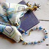 """Аксессуары ручной работы. Ярмарка Мастеров - ручная работа Маленький шарф-колье """"Окна"""" 100% шелк, браслет. Handmade."""
